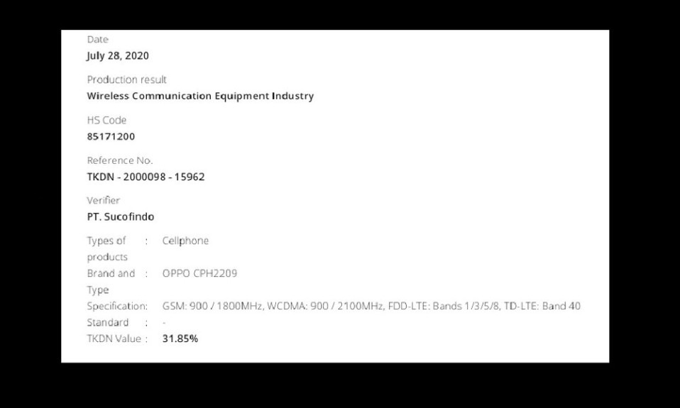 Oppo CPH2209 is TKDN and Indonesia Telecom Certified